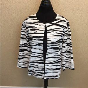Chico's Animal Zebra Print Jacket Blazer Size 2